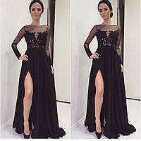 Шикарное длинное платье в пол с красивым ажуром и разрезом на юбке