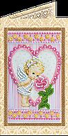 Набор для вышивки бисером «Открытка» Ангелочек и роза
