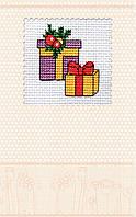 Набор-открытка для вышивки крестом «Новогодние подарки»