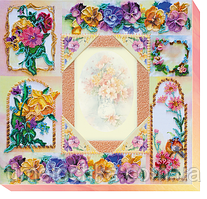 """Набор для вышивки бисером на натуральном художественном холсте  фоторамка """"Цветочная история"""""""