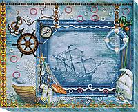 """Набор для вышивки бисером на натуральном художественном холсте фоторамка """"Сокровища моря"""""""