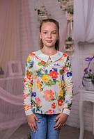 Стильная  кофта для девочки из  трикотажа с цветочным принтом и белым воротничком 128-146