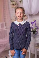 Модная  кофта для девочки из принтованого трикотажа с белым воротничком 134-164