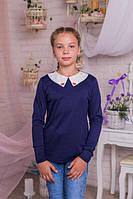 Трикотажная кофта-блузка  для девочки тёмно-синего  цвета 128-158