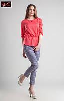 Элегантная летняя блуза из качественной ткани красного цвета в горошек