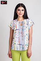 Летняя блуза свободного кроя с коротким рукавом - волан