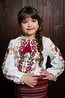 Модная блузка для девочки с длинным рукавом и красивой вышивкой с розами