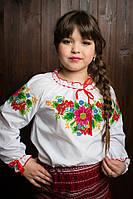 Модная детская вышитая блузка белая с батиста