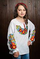 Детская вышитая блузка с длинным рукавом