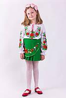 Нарядная блузка вышиванка для девочки из батиста   в маках