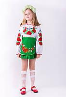 Стильная  блузка вышиванка  для девочки белого цвета из батиста   в маках