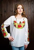 Красивая  подростковая вышитая блуза из батиста с длинным рукавом