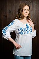 Стильная  подростковая вышитая блуза белого цвета