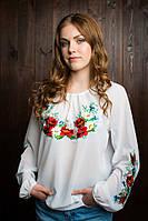 Модная  подростковая вышитая блуза из креп-шифона белая