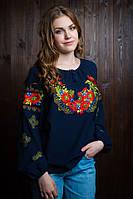 Стильная  подростковая вышитая блуза из креп-шифона тёмно-синяя