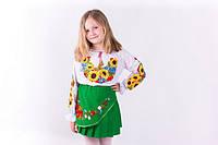 Нарядная блузка вышиванка для девочки  с подсолнухами