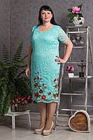 Модное гипюровое женское платье  с красивой вышивкой бирюзового цвета