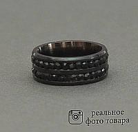 Женское черное кольцо из стали со стразами Размер 17 (810214)