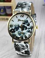 Часы наручные женские GENEVA в цветах (черно-белые)