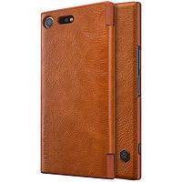 Кожаный чехол (книжка) Nillkin Qin Series для Sony Xperia XZ Premium Коричневый