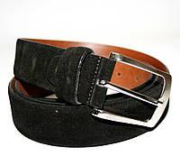 3036 Black Ems Ремень мужской кожаный замш классика чёрный