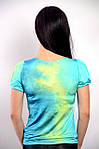 Бирюзовая блузка с декольте вискоза 100 % ,Бл 574543 , фото 2