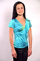 Бирюзовая блузка с декольте вискоза 100 % ,Бл 574543