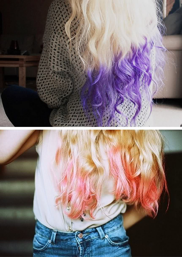 цветные волосы омбре