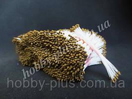 Тайские тычинки, КОРИЧНЕВЫЕ, мелкие каплевидные на белой нити, 23-25 нитей, 50 головок