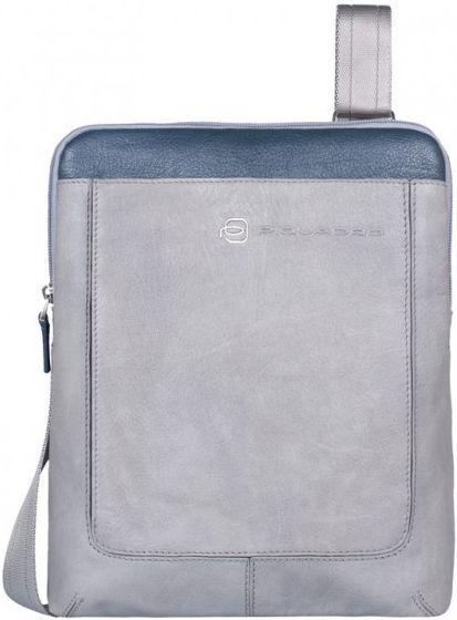 Стильная наплечная кожаная мужская сумка Piquadro Vibe/Grey-Blue, CA1358VI_GRB серый - Интернет магазин SUPERSUMKA в Киеве