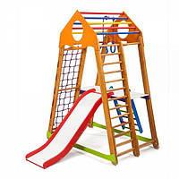 Детский спортивный комплекс BambinoWood Plus 2 с горкой, кольцами, рукоходом, лестницей ТМ SportBaby Разноцветный