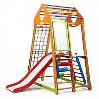 Детский спортивный комплекс BambinoWood Plus 3 с горкой, кольцами, рукоходом, мольбертом ТМ SportBaby Разноцветный