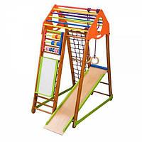 Детский спортивный комплекс BambinoWood Plus с горкой, сеткой, кольцами, рукоходом, мольбертом ТМ SportBaby Разноцветный