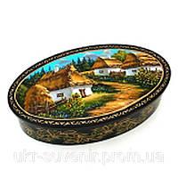 Шкатулка сувенир ручной работы овальная пейзаж