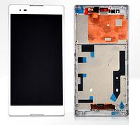 Дисплей (экран) для Sony D5322 Xperia T2 Ultra DS + с сенсором (тачскрином) и рамкой белый Оригинал
