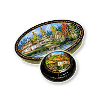 Шкатулки миниатюрная живопись (пейзаж)