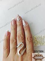 Серебряное кольцо с золотом  Элегант
