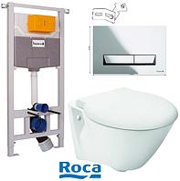 Подвесной унитаз Roca + Инсталляция Imprese с кнопкой