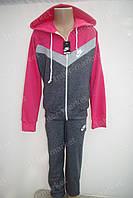 """Красивый детский трикотажный спортивный костюм в стиле """"NIKE"""" для девочки розовый"""