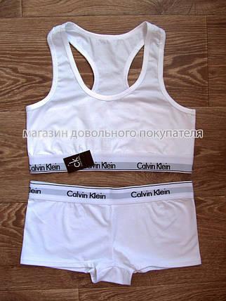 Комплект нижнего белья Calvin Klein топ и шортики белый, фото 2
