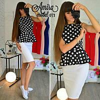 Костюм женский модный блузка с баской в горошек и юбка карандаш трикотаж Kor497