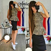 Костюм модный трикотажный блузка с баской и юбка карандаш Kor498