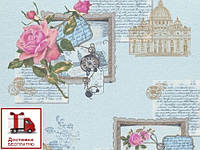 Обои На стену, винил, Поэма 945-03Х, роза, голубой 0,53*10м