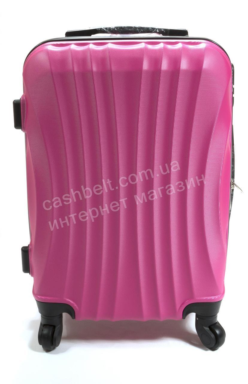 Объемный дорожный каркасный чемодан с прочного пластика WINGS  art. 0715 №3 розовый (100693)