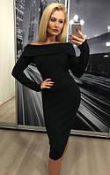 Платье теплое с отворотом, черное