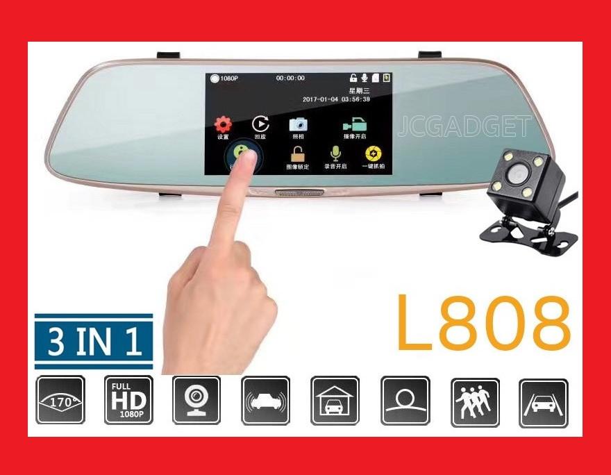 """DVR L808 Full HD 5"""" сенсорный экран. Зеркало заднего вида с видео регистратором"""