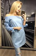 Блузка рубашка женская голубая