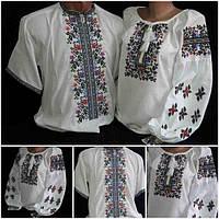 """Рубашки для украинской семьи """"Летний вечер 1"""", домотканка"""