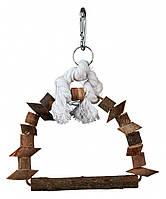 Качели Trixie Arch Swing для птиц деревянные на канате, 15х20 см