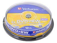 Диск VERBATIM DVD+RW 4,7 Gb 4x Cake (10шт.)
